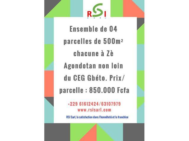 ENSEMBLE DE 04 PARCELLES DE 500m2 CHACUNE A ZE AGONDOTAN NON LOIN DU CEG GBETO