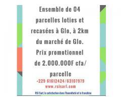ENSEMBLE DE 04 PARCELLES LOTIES ET RECASÉES A GLO, 2KM DU MARCHE DE GLO
