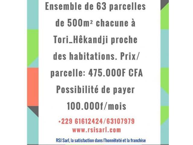 ENSEMBLE DE 63 PARCELLES DE 500M2 CHACUNE A TORI HEKANDJI PROCHE DES HABITATIONS